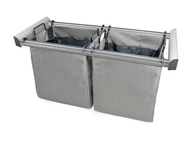 Engage Pull Out Laundry Hamper-Organizer in Slate Matte Aluminum- Tag Hardware